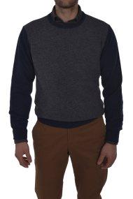 Dur ανδρική πλεκτή μπλούζα με διχρωμία μπροστά - 30211057 - Μπλε Σκούρο