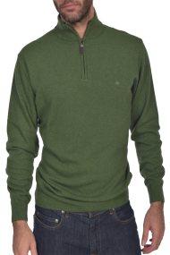 Dur ανδρική πλεκτη μπλούζα μονόχρωμη με φερμουάρ 3/4 - 30211008 - Πράσινο