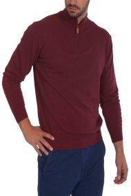 Dur ανδρική πλεκτη μπλούζα μονόχρωμη με φερμουάρ 3/4 - 30211008 - Μπορντό