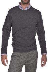c6c4901d01e9 Dur ανδρική πλεκτη μάλλινη μπλούζα μονόχρωμη με στρογγυλή λαιμόκοψη -  30211071 - Ανθρακί