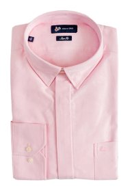 e40c9efe63b2 Dur ανδρικό μονόχρωμο πουκάμισο Oxford σε στενή γραμμή - 10020638 - Ροζ