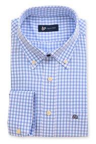 Dur ανδρικό πουκάμισο καρό Vichy ύφανσης twill - 10020689 - Γαλάζιο