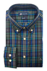 Dur ανδρικό πουκάμισο 'fil coupe' καρό - 10210050 - Πράσινο