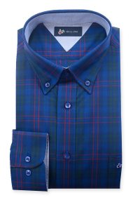 Dur ανδρικό πουκάμισο καρό τριών χρωμάτων - 10210051 - Μπλε Ηλεκτρίκ