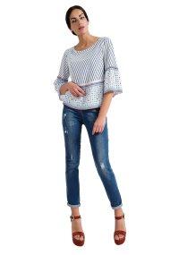 Γυναικείο cropped μονόχρωμο τζην παντελόνι Billy Sabbado - 0943499988 - Μπλε
