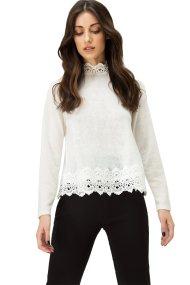 Billy Sabbado γυναικεία μπλούζα λευκή με τρέσες - 142288742 - Εκρού