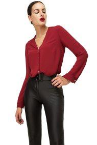 Billy Sabbado γυναικείο πουκάμισο με V λαιμόκοψη - 0137565448 - Μπορντό