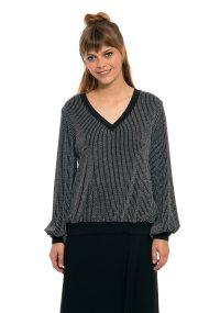 Lucifair γυναικεία μπλούζα με ρίγα και μεταλλικές ίνες - 61430 - Μαύρο