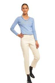 Lucifair γυναικείο cropped παντελόνι με γκρο ζώνη - 30692 - Εκρού
