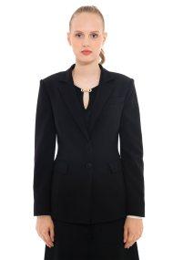 Lucifair γυναικείo σακάκι μονόχρωμο με δύο κουμπιά - 41223 - Μαύρο