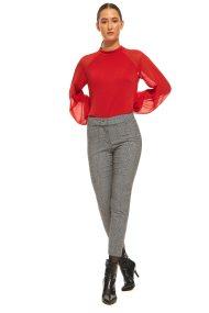 Lucifair γυναικείο παντελόνι καρό σε ίσια γραμμή - 30695 - Γκρι