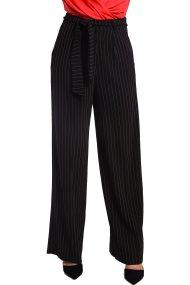 Γυναικεία ριγέ κρεπ παντελόνα Paul Christophe - 822270 - Μαύρο