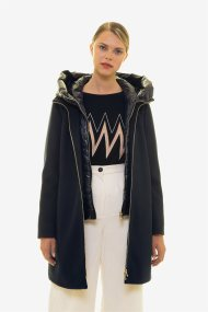 Emme by Marella γυναικείο midi παλτό με καπιτονέ εσωτερική επένδυση με κουκούλα - 50860398250 - Μπλε Σκούρο