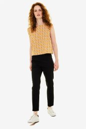 Emme by Marella γυναικείo cropped παντελόνι Straight fit - 51310405250 - Μαύρο