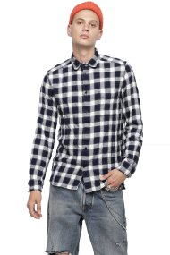 Diesel ανδρικό καρό πουκάμισο με τσεπάκι S-Anob - 00SKMR 0GAKE - Μπλε Σκούρο