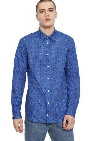 Diesel ανδρικό πουκάμισο με μικροσχέδιο S-Akura - 00SR2I 0GAUX - Μπλε