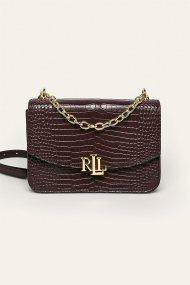 Lauren Ralph Lauren γυναικεία δερμάτινη croco τσάντα crossbody με αλυσίδα - 194-431746229/006 - Μπορντό