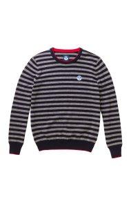 North Sails ανδρικό πλεκτό ριγέ Striped round neck sweater - 699348 - Γκρι