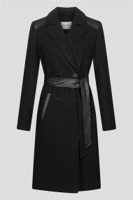 Orsay γυναικείο παλτό με λεπτομέρειες από faux δέρμα - 830196-660000 - Μαύρο