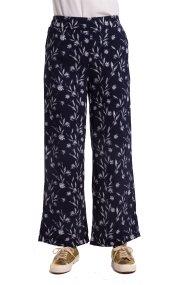 Γυναικεία παντελόνα με floral print Fransa - 20603626 - Μπλε Σκούρο