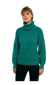 26b71ef5682a Fransa γυναικείο πουλόβερ με ζιβάγκο και χοντρή rib πλέξη - 20604869 -  Πράσινο