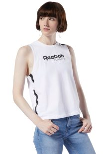 Reebok γυναικεία αμάνικη μπλούζα με brand logo - DT7235 - Άσπρο