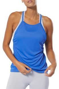 Reebok γυναικεία μπλούζα με ραντάκι και αθλητική πλάτη WOR Meet You There - DU4834 - Μπλε
