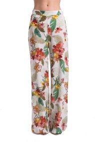 Γυναικεία παντελόνα ψηλόμεση με floral print Gaudi - C811FD25033 - Λευκό