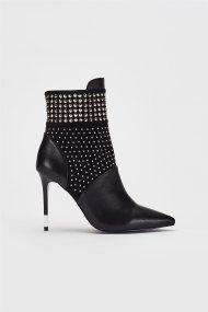Gaudi γυναικείο μποτάκι στιλέτο με τρουκς - V94-66958 - Μαύρο