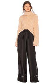 Γυναικεία μονόχρωμη παντελόνα με ρέλι Kendall + Kylie - KCHO17024BW - Μαύρο