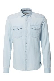 TOM TAILOR ανδρικό τζην πουκάμισο Slim fit - 1008088 - Γαλάζιο