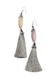 Γυναικεία σκουλαρίκια κρεμαστά με κρόσσια Helmi - 41-37-019 - Γκρι