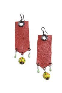 Γυναικεία σκουλαρίκια κρεμαστά με δέρμα και πέτρες Helmi - 41-37-024 - Κεραμιδί