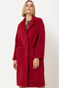 Helmi γυναικείο midi παλτό μονόχρωμο - 44-07-030 - Κόκκινο