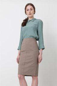 Helmi γυναικεία pencil φούστα μονόχρωμη - 45-01-018 - Μπεζ
