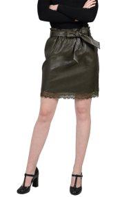 Molly Bracken γυναικεία μίνι φούστα με faux δέρμα και δαντέλα - W18MB-T704 - Χακί