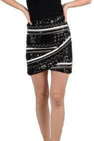Molly Bracken γυναικεία μίνι φούστα με κεντήματα και παγέτα - W18MB-W682 - Μαύρο