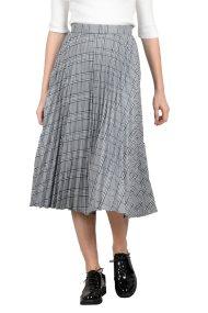 Molly Bracken γυναικεία μίντι φούστα πλισέ καρό - W18MB-S3452 - Γκρι