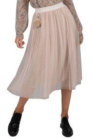 Molly Bracken γυναικεία μίντι φούστα tutu με λάστιχο στην μέση - W18MB-S3555 - Μπεζ
