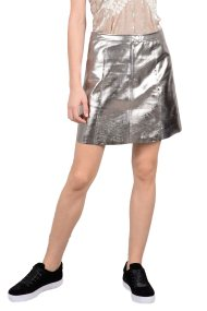 Molly Bracken γυναικεία μίνι φούστα flared μεταλλική - W18MB-T711 - Ασημί