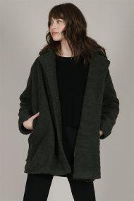 Μοlly Bracken γυναικείο oversized παλτό με γούνινη όψη - W19MB-N40 - Μαύρο