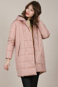 Molly Bracken γυναικείo μπουφάν καπιτονέ με διπλή σειρά κουμπιών - W19MB-HF03 - Ροζ