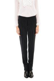 Jupe γυναικείo υφασμάτινο ριγέ παντελόνι - 21.182.J03.004 - Μαύρο