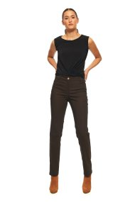 Bella P γυναικείο παντελόνι μονόχρωμο Straight fit - 21.182.Β03.111 - Καφέ