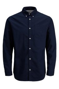 JACK & JONES ανδρικό βαμβακερό πουκάμισο - 12138086 - Μπλε Σκούρο