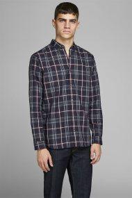 JACK & JONES ανδρικό πουκάμισο με καρό σχέδιο - 12162325 - Μπλε Σκούρο