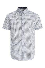 JACK & JONES ανδρικό κοντομάνικο πουκάμισο με μικροσχέδιο Slim Fit - 12170681 - Λευκό