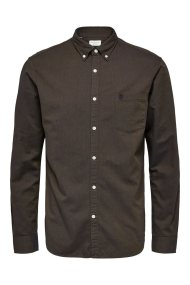 SELECTED ανδρικό πουκάμισο Oxford - 16040493 - Χακί