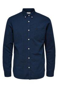 SELECTED ανδρικό πουκάμισο Oxford - 16040493 - Σκούρο Μπλε