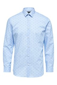 SELECTED ανδρικό πουκάμισο με print Slim fit - 16063922 - Γαλάζιο
